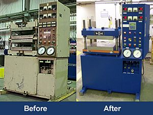 Refurbished hydraulic laboratory presses.
